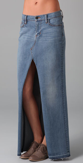 Long maxi denim skirt – Fashion clothes in USA photo blog