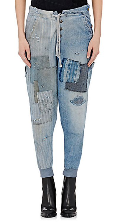 behold the denim patchworl loungepants